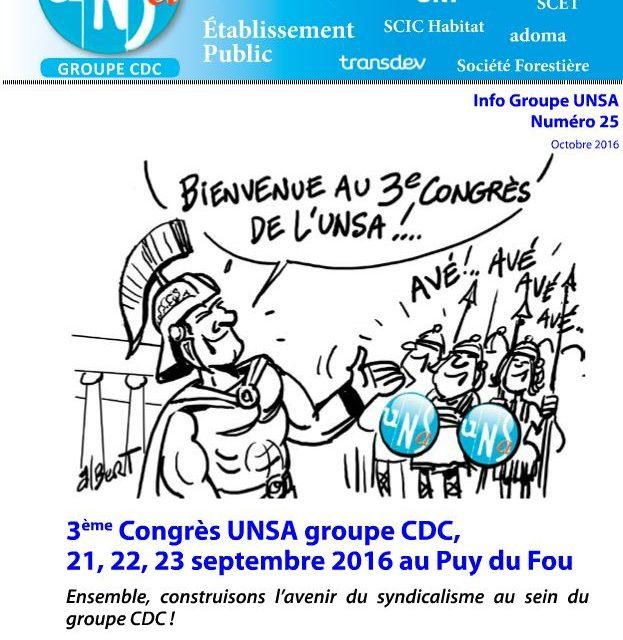 3ème Congrès de l'UNSA groupe CDC – Puy du Fou 21, 22 et 23 septembre 2016