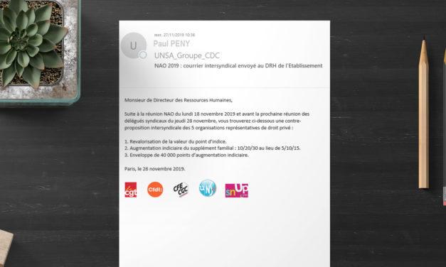 NAO 2019 : courrier intersyndical envoyé au DRH de l'Etablissement Public