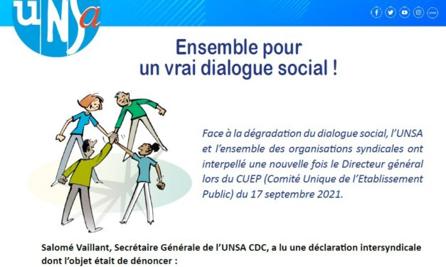 Tribune syndicale UNSA – Octobre 2021
